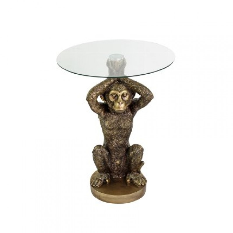 SIDETABLE MONKEY GLASSTOP POLYRESIN